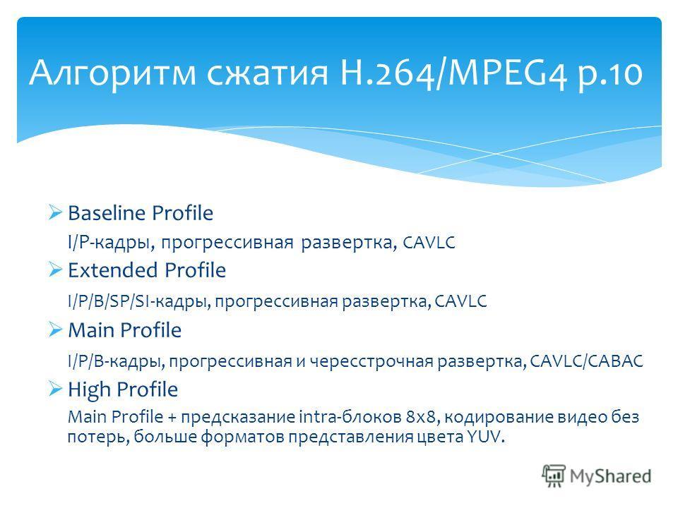 Baseline Profile I/P-кадры, прогрессивная развертка, CAVLC Extended Profile I/P/B/SP/SI-кадры, прогрессивная развертка, CAVLC Main Profile I/P/B-кадры, прогрессивная и чересстрочная развертка, CAVLC/CABAC High Profile Main Profile + предсказание intr