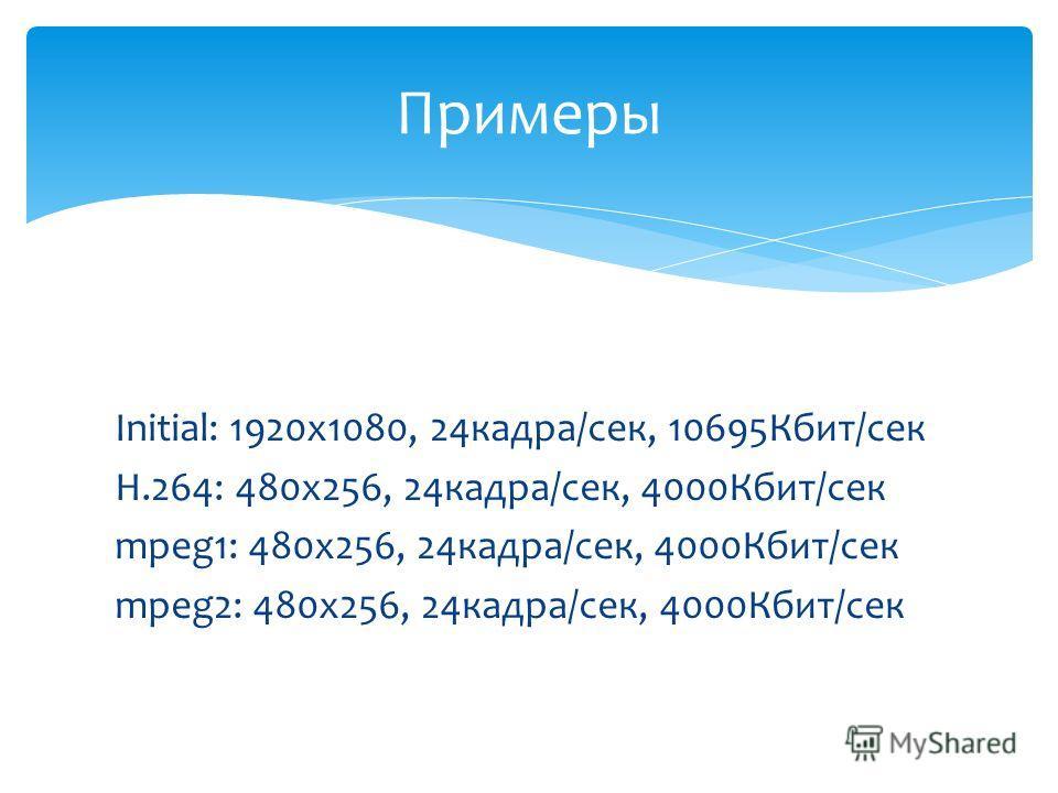 Initial: 1920х1080, 24кадра/сек, 10695Кбит/сек H.264: 480x256, 24кадра/сек, 4000Кбит/сек mpeg1: 480x256, 24кадра/сек, 4000Кбит/сек mpeg2: 480x256, 24кадра/сек, 4000Кбит/сек Примеры