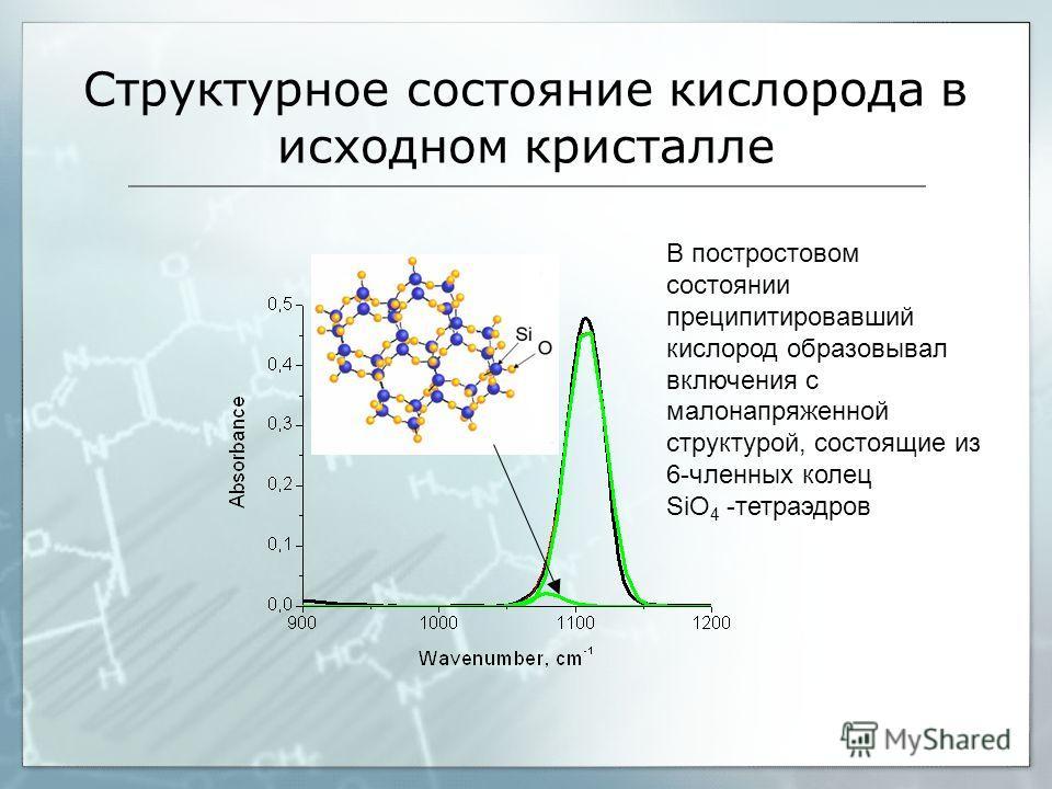 Структурное состояние кислорода в исходном кристалле В постростовом состоянии преципитировавший кислород образовывал включения с малонапряженной структурой, состоящие из 6-членных колец SiО 4 -тетраэдров
