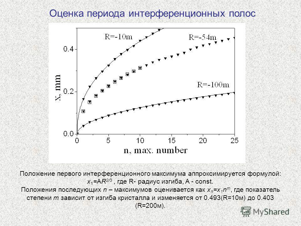 Оценка периода интерференционных полос Положение первого интерференционного максимума аппроксимируется формулой: x 1 =AR 2/3, где R- радиус изгиба, A - const. Положения последующих n – максимумов оценивается как x n =x 1 n m, где показатель степени m