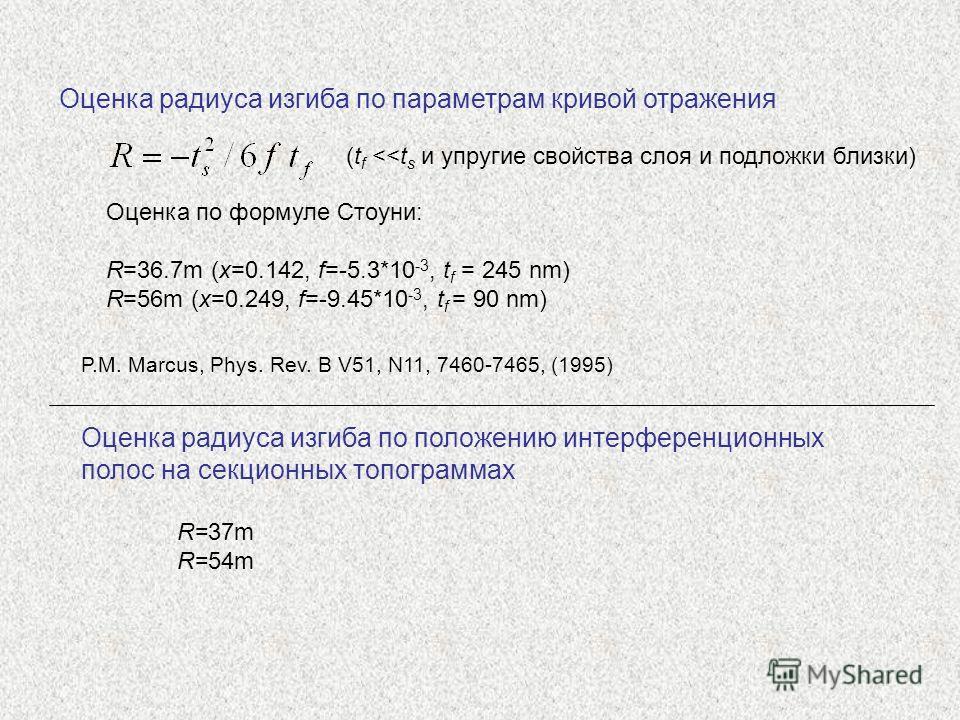 Оценка радиуса изгиба по параметрам кривой отражения Оценка по формуле Стоуни: R=36.7m (x=0.142, f=-5.3*10 -3, t f = 245 nm) R=56m (x=0.249, f=-9.45*10 -3, t f = 90 nm) P.M. Marcus, Phys. Rev. B V51, N11, 7460-7465, (1995) (t f