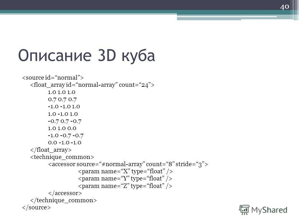 Описание 3D куба 1.0 1.0 1.0 0.7 0.7 0.7 -1.0 -1.0 1.0 1.0 -1.0 1.0 -0.7 0.7 -0.7 1.0 1.0 0.0 -1.0 -0.7 -0.7 0.0 -1.0 -1.0 40