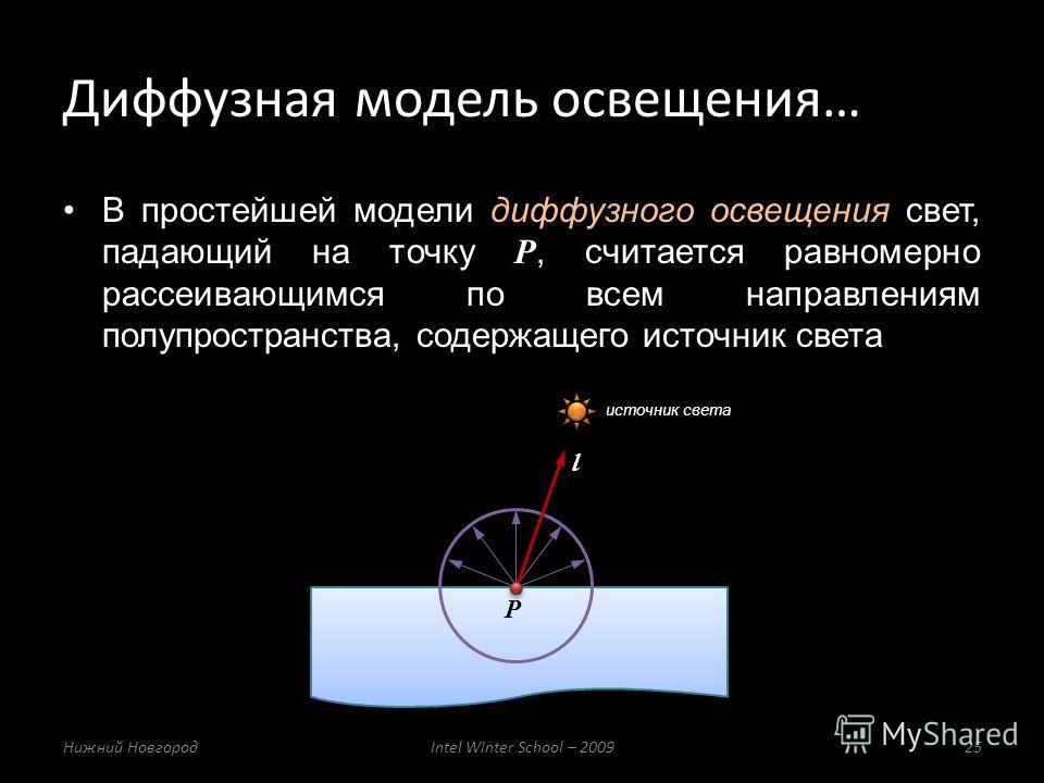 В простейшей модели диффузного освещения свет, падающий на точку P, считается равномерно рассеивающимся по всем направлениям полупространства, содержащего источник света Диффузная модель освещения… Нижний НовгородIntel Winter School – 200925 l P исто