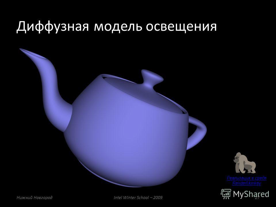 Реализация в среде RenderMonkey Диффузная модель освещения Нижний НовгородIntel Winter School – 200927