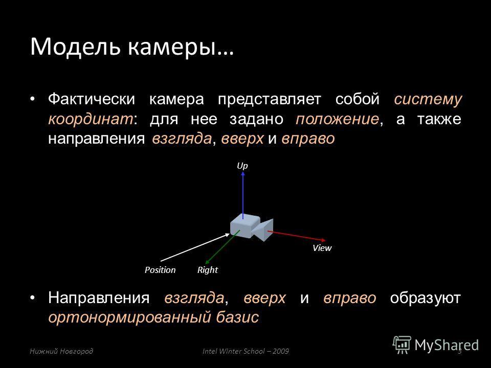 Фактически камера представляет собой систему координат: для нее задано положение, а также направления взгляда, вверх и вправо Направления взгляда, вверх и вправо образуют ортонормированный базис Модель камеры… Нижний НовгородIntel Winter School – 200