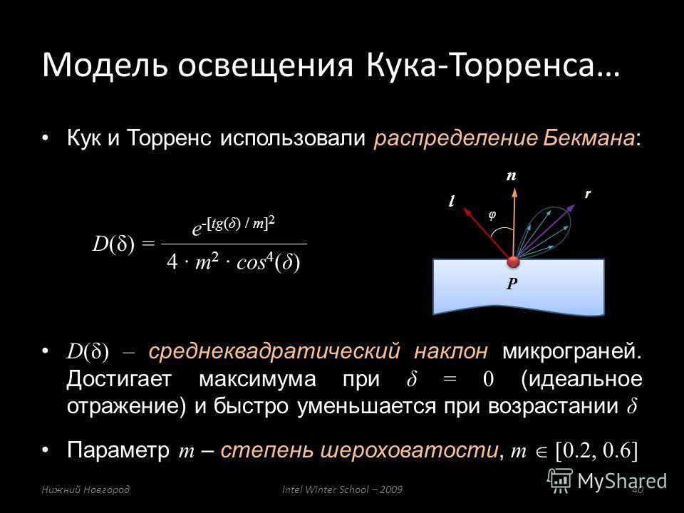 Модель освещения Кука-Торренса… Нижний НовгородIntel Winter School – 200940 Кук и Торренс использовали распределение Бекмана: D(δ) – среднеквадратический наклон микрограней. Достигает максимума при δ = 0 (идеальное отражение) и быстро уменьшается при
