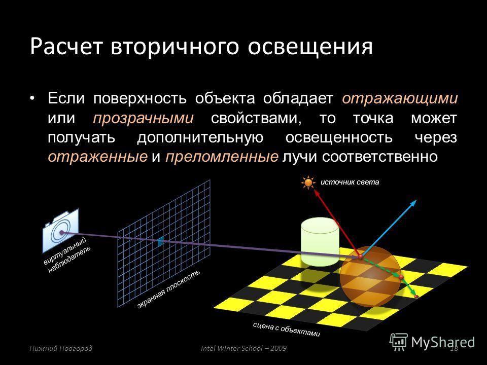 Если поверхность объекта обладает отражающими или прозрачными свойствами, то точка может получать дополнительную освещенность через отраженные и преломленные лучи соответственно Расчет вторичного освещения Нижний НовгородIntel Winter School – 200918