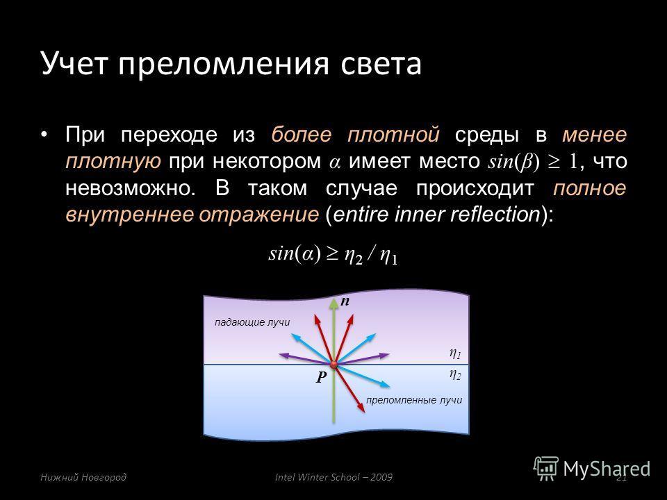 При переходе из более плотной среды в менее плотную при некотором α имеет место sin(β) 1, что невозможно. В таком случае происходит полное внутреннее отражение (entire inner reflection): sin(α) η 2 / η 1 Учет преломления света Нижний НовгородIntel Wi