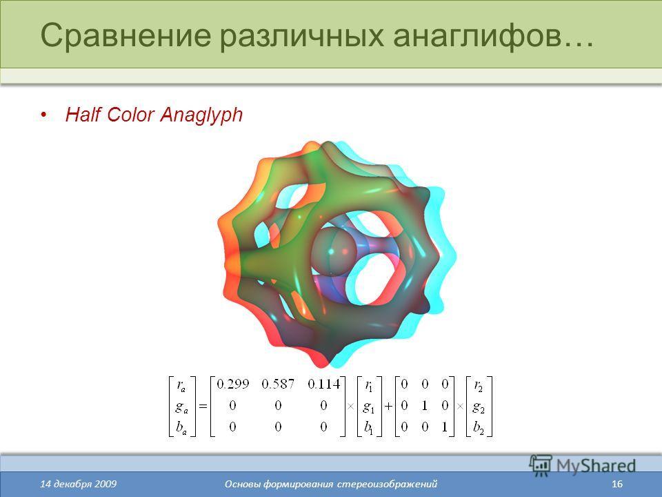 16 Сравнение различных анаглифов… Half Color Anaglyph 14 декабря 2009Основы формирования стереоизображений