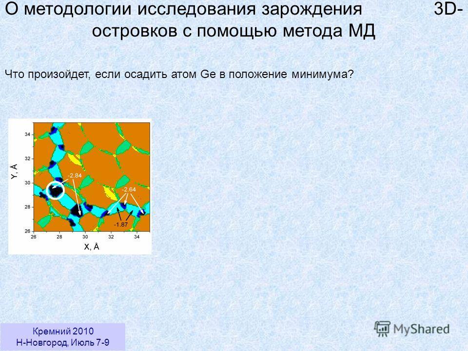 Кремний 2010 Н-Новгород, Июль 7-9 О методологии исследования зарождения 3D- островков с помощью метода МД Что произойдет, если осадить атом Ge в положение минимума?