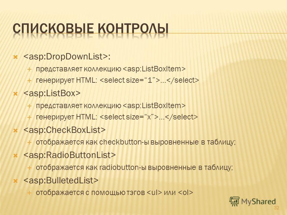 : представляет коллекцию генерирует HTML: … представляет коллекцию генерирует HTML: … отображается как checkbutton-ы выровненные в таблицу; отображается как radiobutton-ы выровненные в таблицу; отображается с помощью тэгов или 32