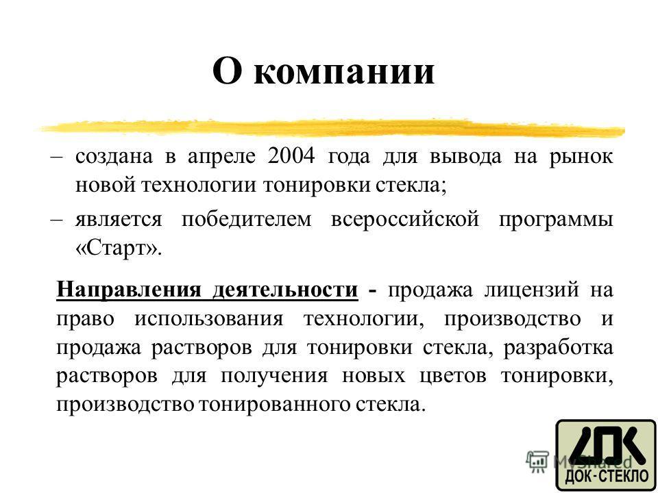 TCG О компании –создана в апреле 2004 года для вывода на рынок новой технологии тонировки стекла; –является победителем всероссийской программы «Старт». Направления деятельности - продажа лицензий на право использования технологии, производство и про