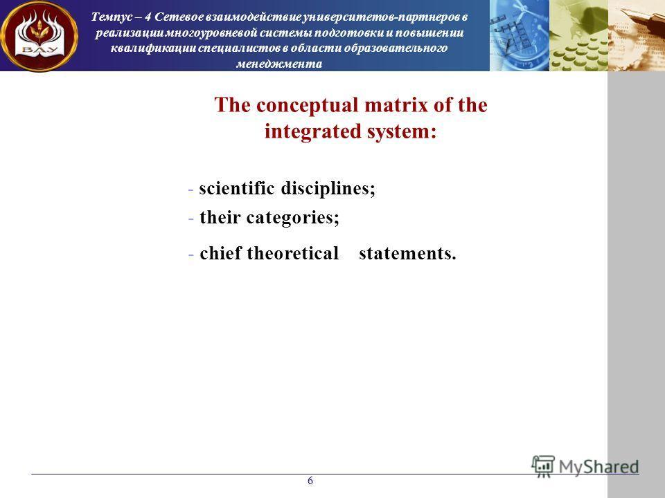 6 Темпус – 4 Сетевое взаимодействие университетов-партнеров в реализации многоуровневой системы подготовки и повышении квалификации специалистов в области образовательного менеджмента The conceptual matrix of the integrated system: - scientific disci