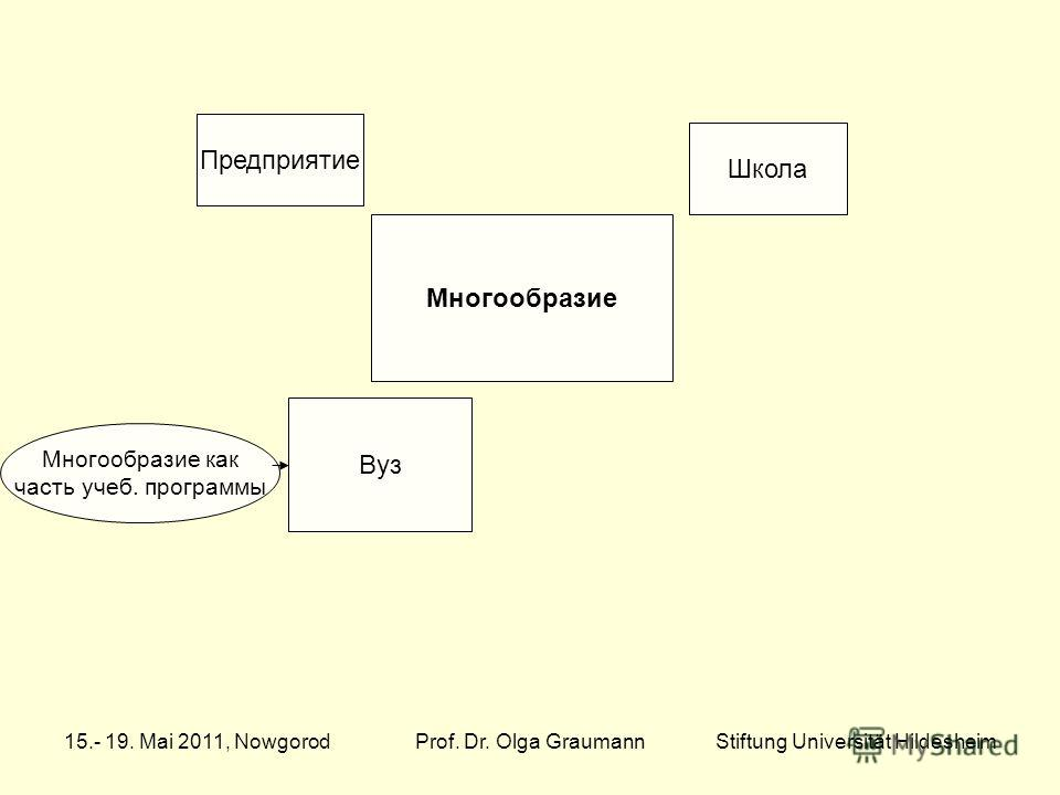Многообразие Школа Предприятие Многообразие как часть учеб. программы Вуз 15.- 19. Mai 2011, NowgorodProf. Dr. Olga GraumannStiftung Universität Hildesheim