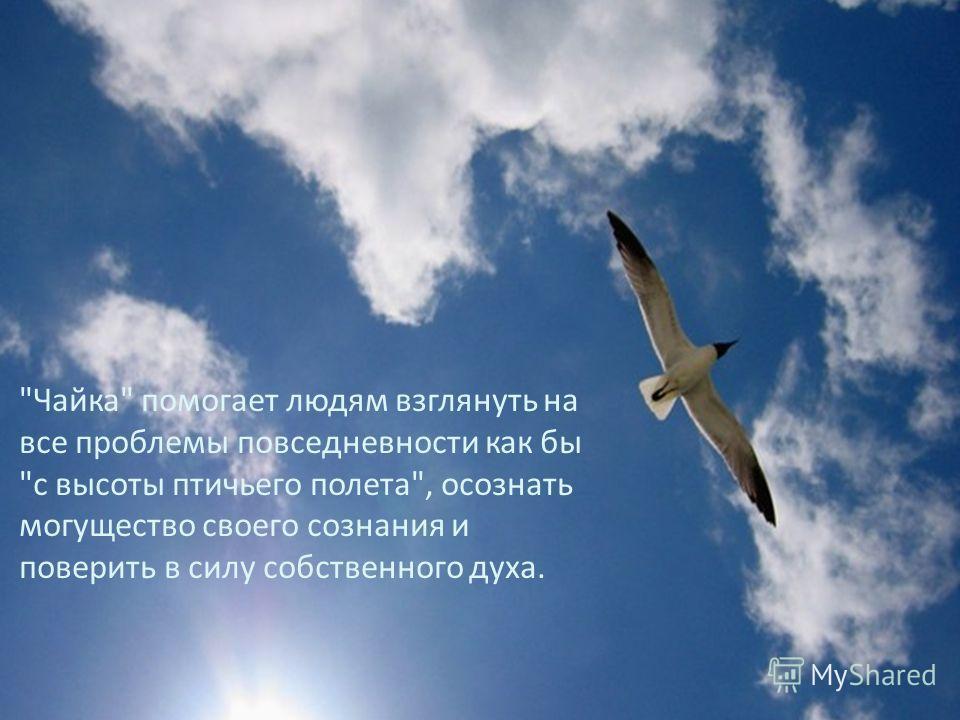 Чайка помогает людям взглянуть на все проблемы повседневности как бы с высоты птичьего полета, осознать могущество своего сознания и поверить в силу собственного духа.