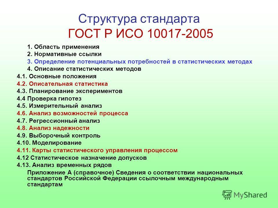 Структура стандарта ГОСТ Р ИСО 10017-2005 1. Область применения 2. Нормативные ссылки 3. Определение потенциальных потребностей в статистических методах 4. Описание статистических методов 4.1. Основные положения 4.2. Описательная статистика 4.3. План