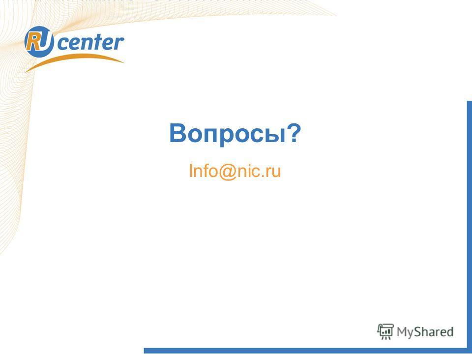 Вопросы? Info@nic.ru