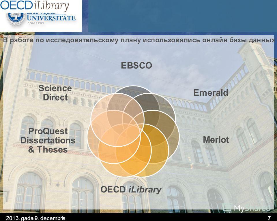 7 В работе по исследовательскому плану использовались онлайн базы данных EBSCO Emerald Merlot OECD iLibrary ProQuest Dissertations & Theses Science Direct