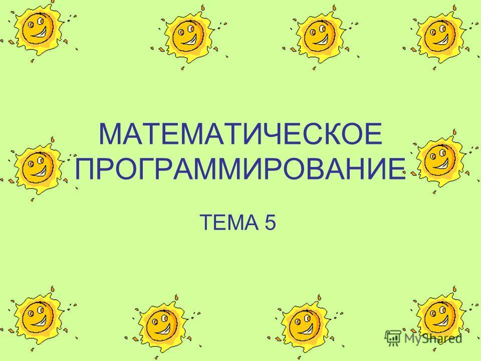 МАТЕМАТИЧЕСКОЕ ПРОГРАММИРОВАНИЕ ТЕМА 5