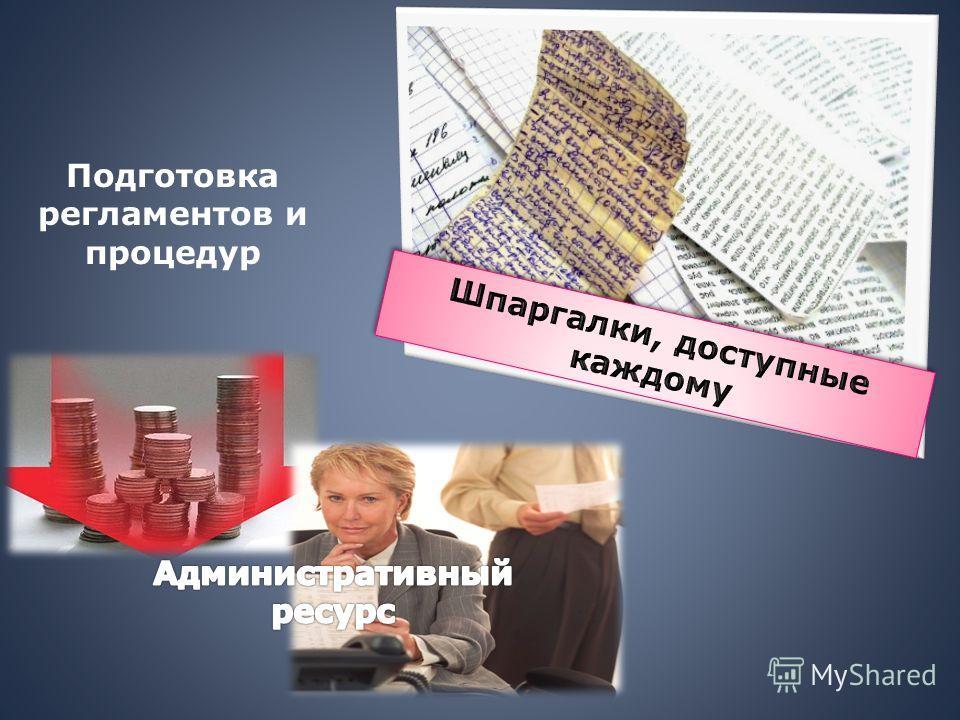 Подготовка регламентов и процедур