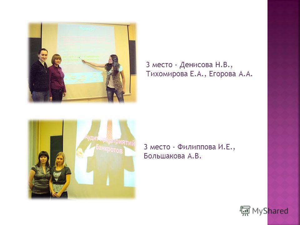 3 место - Денисова Н.В., Тихомирова Е.А., Егорова А.А. 3 место - Филиппова И.Е., Большакова А.В.
