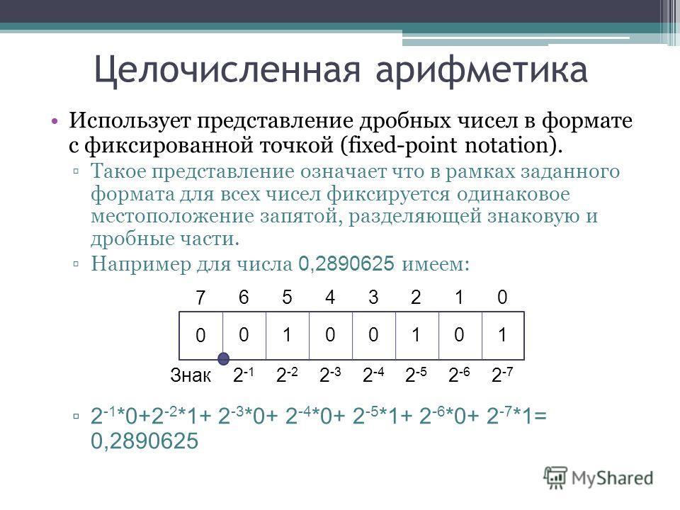 Целочисленная арифметика Использует представление дробных чисел в формате с фиксированной точкой (fixed-point notation). Такое представление означает что в рамках заданного формата для всех чисел фиксируется одинаковое местоположение запятой, разделя