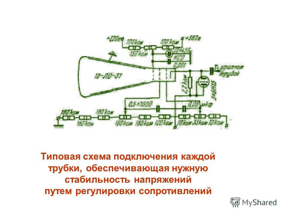 Типовая схема подключения каждой трубки, обеспечивающая нужную стабильность напряжений путем регулировки сопротивлений