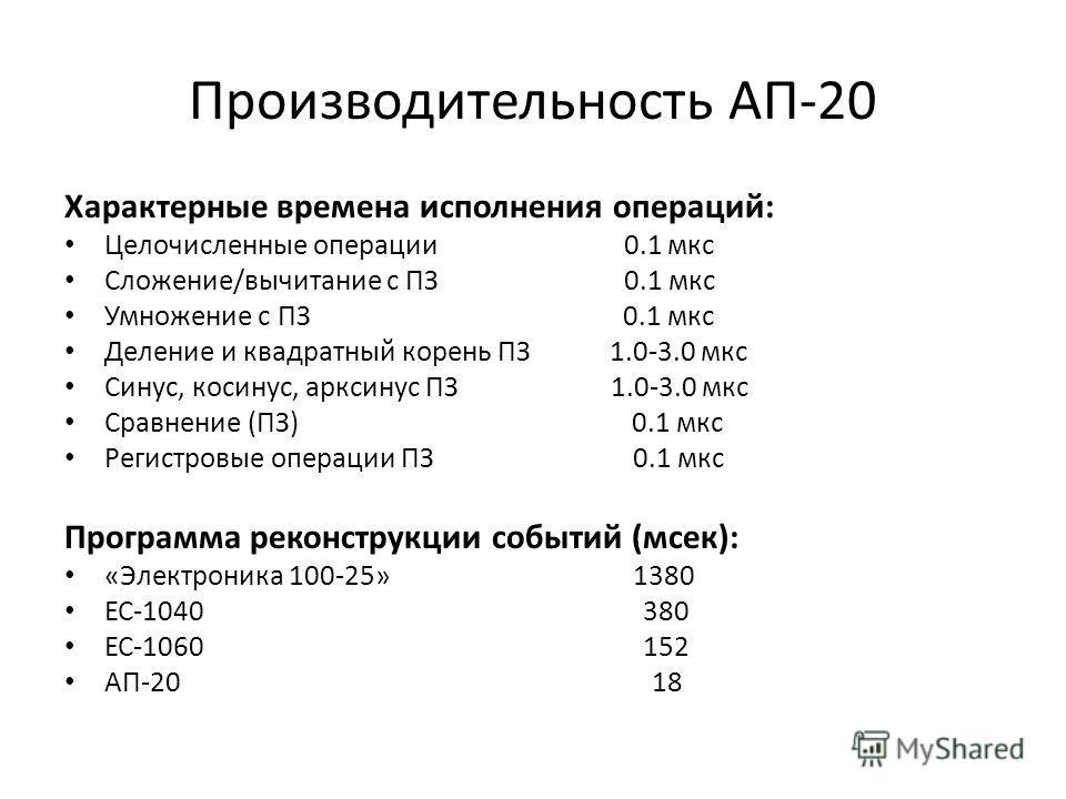 Производительность АП-20 Характерные времена исполнения операций: Целочисленные операции 0.1 мкс Сложение/вычитание с ПЗ 0.1 мкс Умножение с ПЗ 0.1 мкс Деление и квадратный корень ПЗ 1.0-3.0 мкс Синус, косинус, арксинус ПЗ 1.0-3.0 мкс Сравнение (ПЗ)