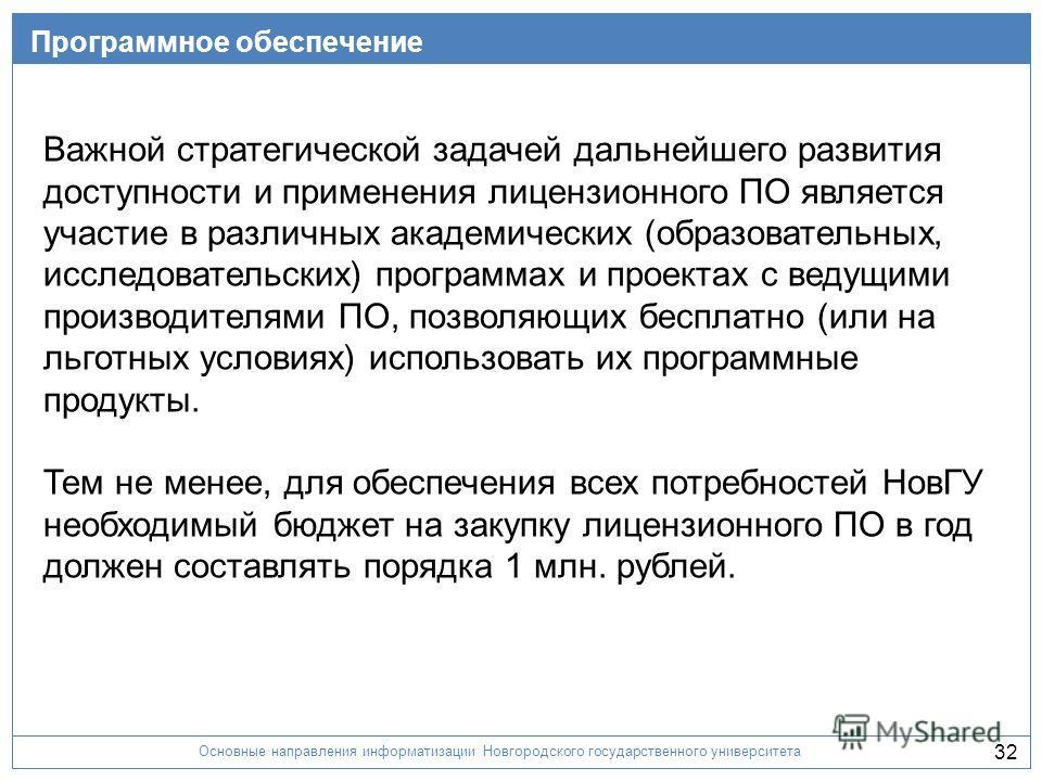 Основные направления информатизации Новгородского государственного университета 32 Программное обеспечение Важной стратегической задачей дальнейшего развития доступности и применения лицензионного ПО является участие в различных академических (образо