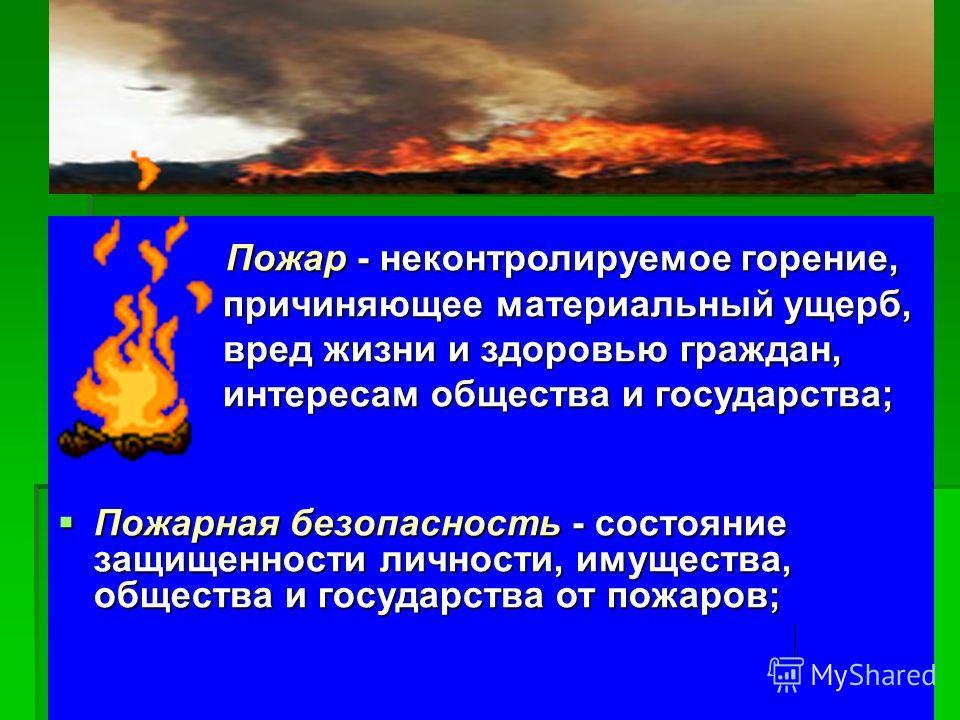 Пожар - неконтролируемое горение, Пожар - неконтролируемое горение, причиняющее материальный ущерб, причиняющее материальный ущерб, вред жизни и здоровью граждан, вред жизни и здоровью граждан, интересам общества и государства; интересам общества и г