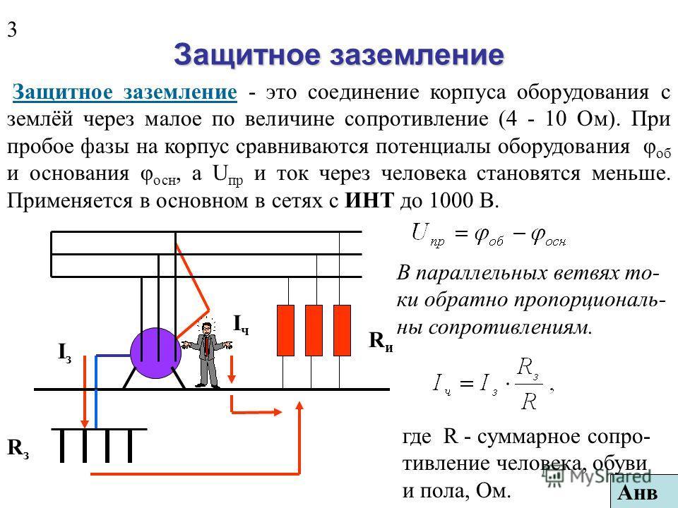 Технические средства электробезопасности (продолжение) 4. Применение малых напряжений (12 - 42 В) в особо опасных помещениях. 5. Средства уменьшения ёмкостного тока: включение индуктивной катушки между нейтральной точкой и землёй, разделение протяжён