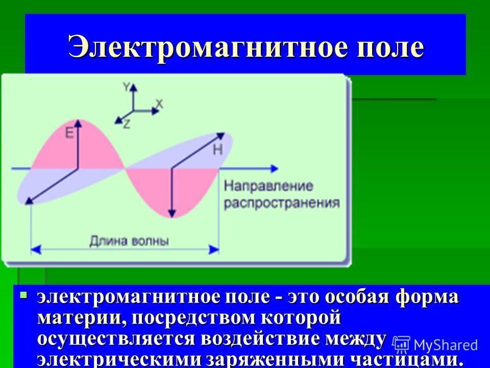 Электромагнитное поле электромагнитное поле - это особая форма материи, посредством которой осуществляется воздействие между электрическими заряженными частицами. электромагнитное поле - это особая форма материи, посредством которой осуществляется во