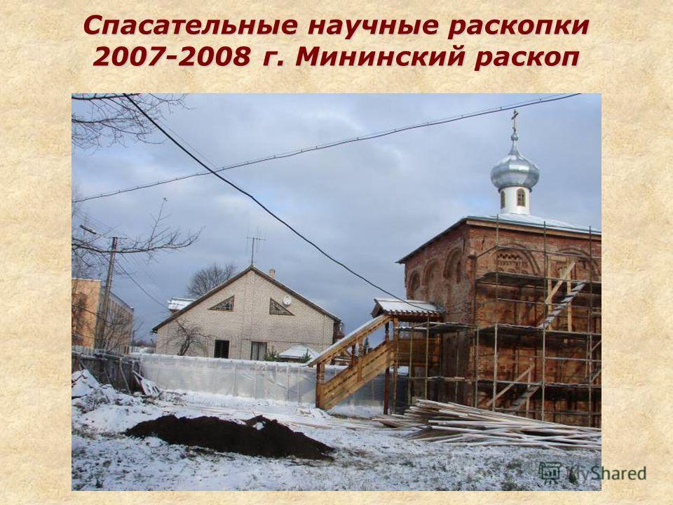 Спасательные научные раскопки 2007-2008 г. Мининский раскоп