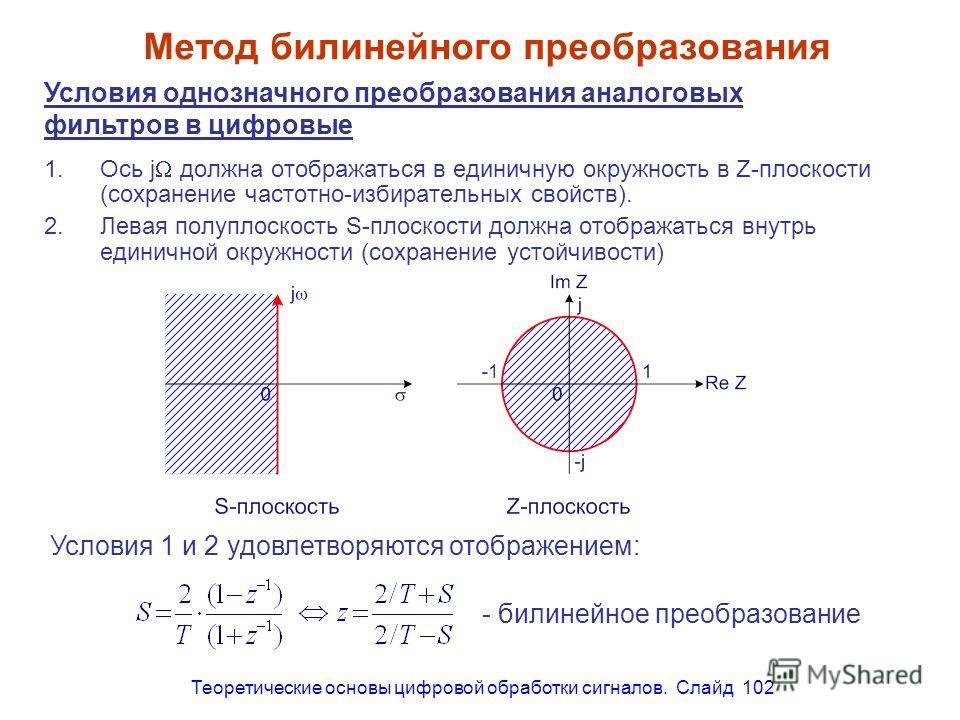 Теоретические основы цифровой обработки сигналов. Слайд 102 Метод билинейного преобразования 1.Ось j должна отображаться в единичную окружность в Z-плоскости (сохранение частотно-избирательных свойств). 2.Левая полуплоскость S-плоскости должна отобра