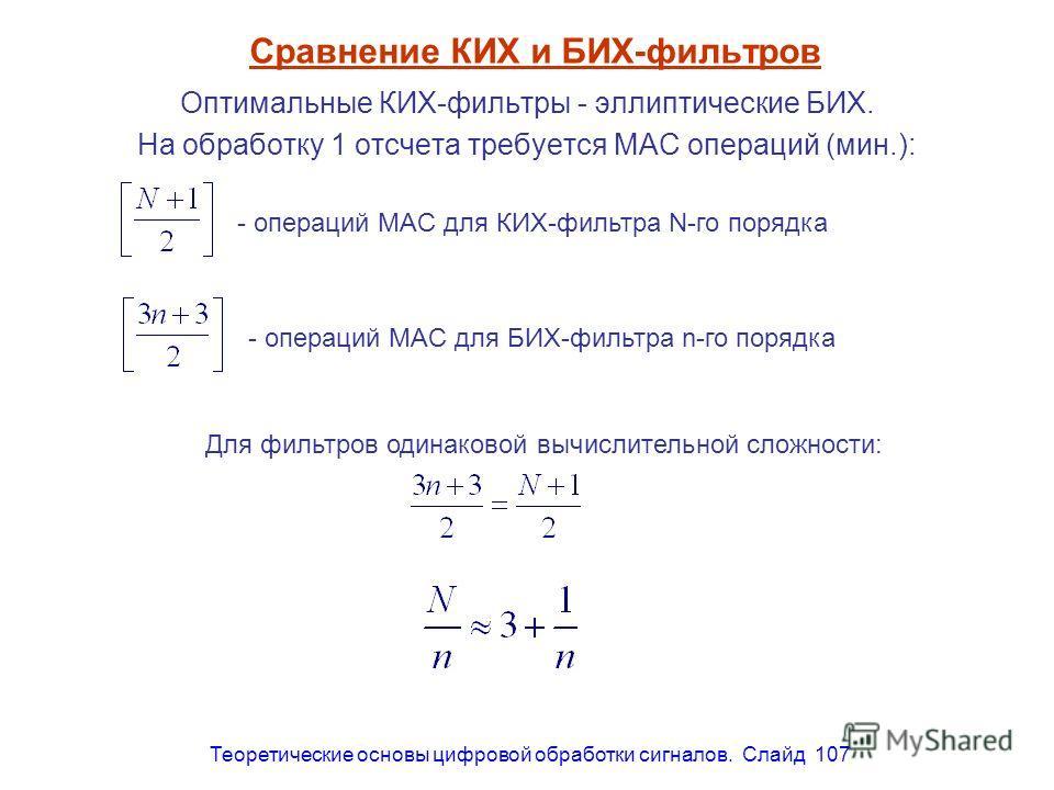 Теоретические основы цифровой обработки сигналов. Слайд 107 Сравнение КИХ и БИХ-фильтров Оптимальные КИХ-фильтры - эллиптические БИХ. На обработку 1 отсчета требуется MAC операций (мин.): - операций MAC для КИХ-фильтра N-го порядка - операций MAC для