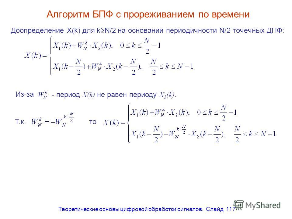 Теоретические основы цифровой обработки сигналов. Слайд 117 Алгоритм БПФ с прореживанием по времени Доопределение X(k) для k N/2 на основании периодичности N/2 точечных ДПФ: - период X(k) не равен периоду X 1 (k). Из-за Т.к. то