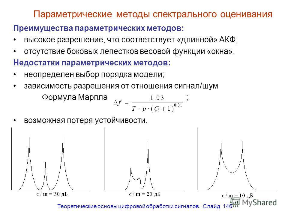Теоретические основы цифровой обработки сигналов. Слайд 146 Параметрические методы спектрального оценивания Преимущества параметрических методов: высокое разрешение, что соответствует «длинной» АКФ; отсутствие боковых лепестков весовой функции «окна»
