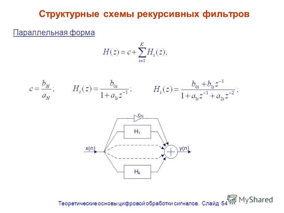Теоретические основы цифровой обработки сигналов. Слайд 54 Структурные схемы рекурсивных фильтров Параллельная форма