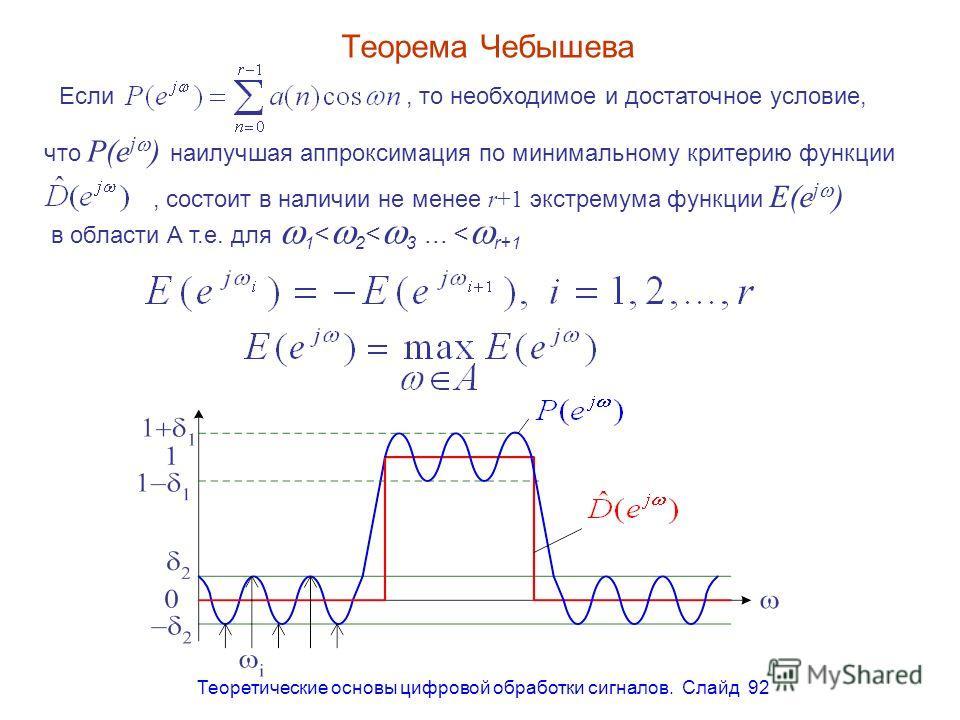 Теоретические основы цифровой обработки сигналов. Слайд 92 Теорема Чебышева Если, то необходимое и достаточное условие, что P(e j ) наилучшая аппроксимация по минимальному критерию функции, состоит в наличии не менее r+1 экстремума функции E(e j ) в