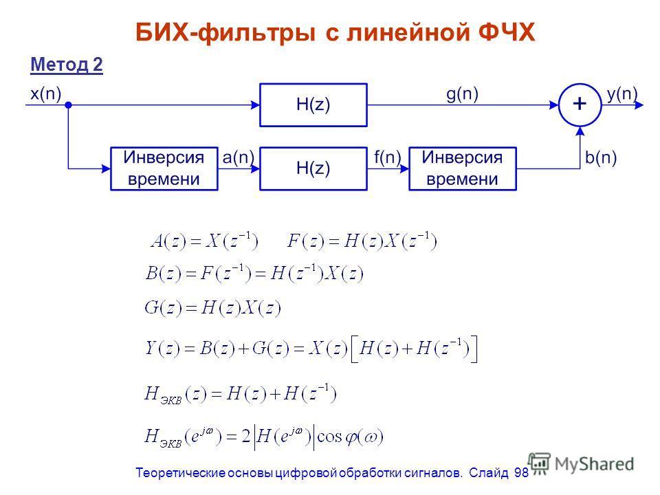 Теоретические основы цифровой обработки сигналов. Слайд 98 БИХ-фильтры с линейной ФЧХ Метод 2
