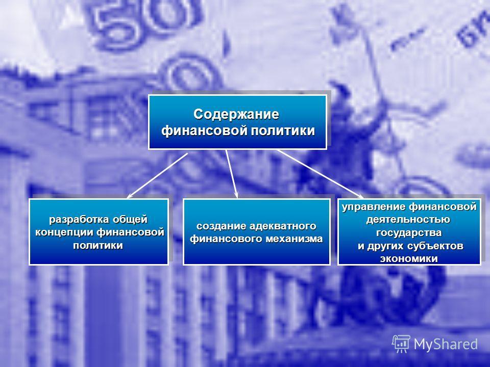 Содержание финансовой политики финансовой политикиСодержание разработка общей концепции финансовой концепции финансовой политики политики разработка общей концепции финансовой концепции финансовой политики политики создание адекватного финансового ме