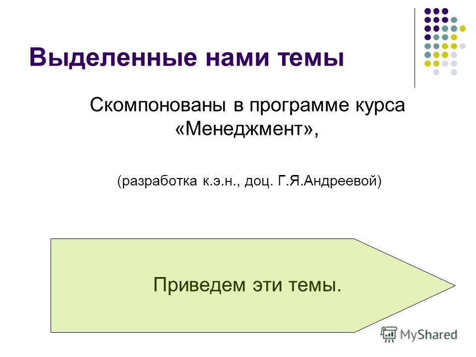Выделенные нами темы Скомпонованы в программе курса «Менеджмент», (разработка к.э.н., доц. Г.Я.Андреевой) Приведем эти темы.