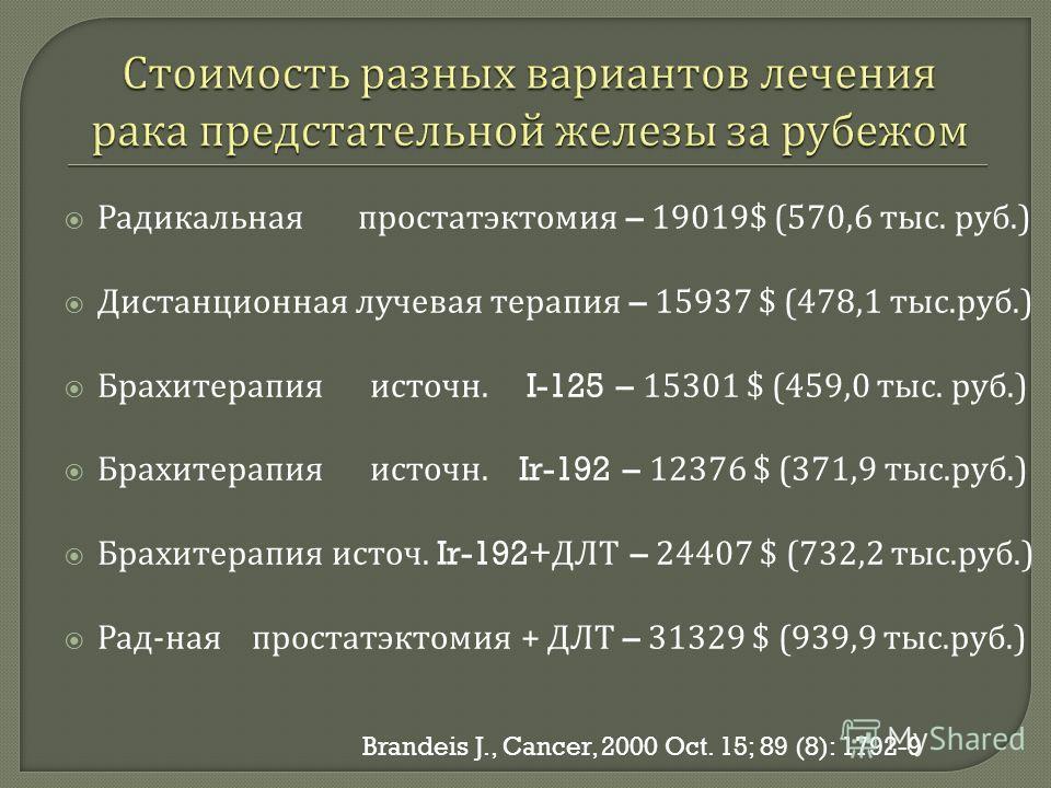 Радикальная простатэктомия – 19019$ (570,6 тыс. руб.) Дистанционная лучевая терапия – 15937 $ (478,1 тыс. руб.) Брахитерапия источн. I-125 – 15301 $ (459,0 тыс. руб.) Брахитерапия источн. Ir-192 – 12376 $ (371,9 тыс. руб.) Брахитерапия источ. Ir-192+