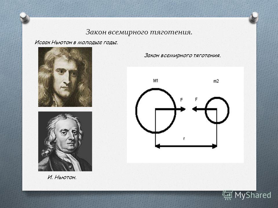 Закон всемирного тяготения. Исаак Ньютон в молодые годы. И. Ньютон. Закон всемирного тяготения.