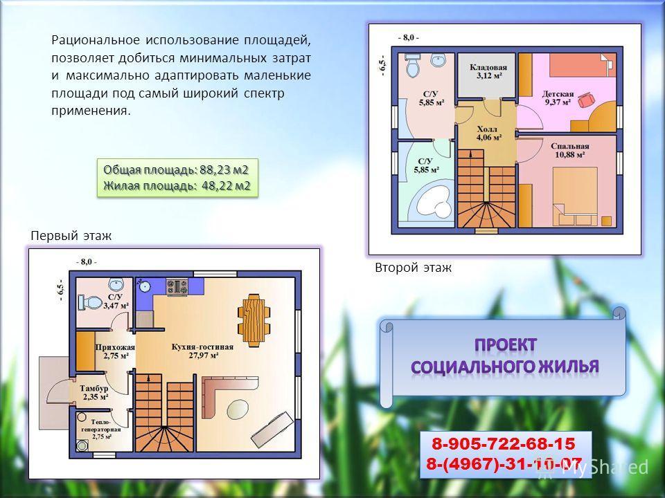 Рациональное использование площадей, позволяет добиться минимальных затрат и максимально адаптировать маленькие площади под самый широкий спектр применения. Первый этаж Второй этаж Общая площадь: 88,23 м2 Жилая площадь: 48,22 м2 Общая площадь: 88,23