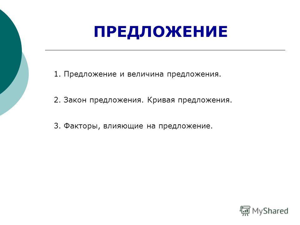 ПРЕДЛОЖЕНИЕ 1. Предложение и величина предложения. 2. Закон предложения. Кривая предложения. 3. Факторы, влияющие на предложение.