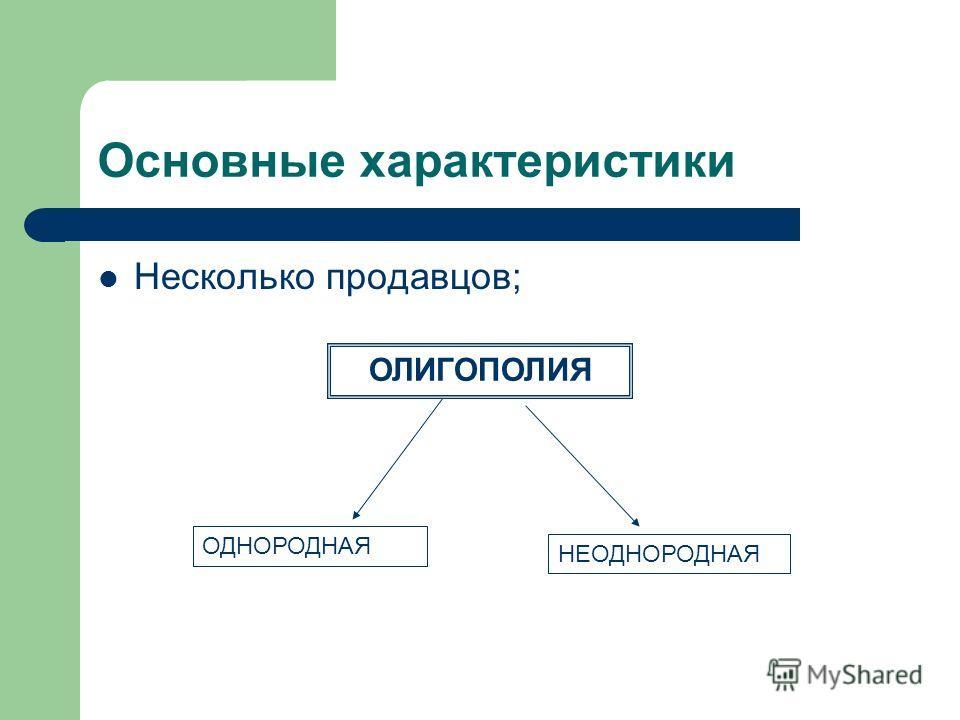 Основные характеристики Несколько продавцов; ОЛИГОПОЛИЯ ОДНОРОДНАЯ НЕОДНОРОДНАЯ