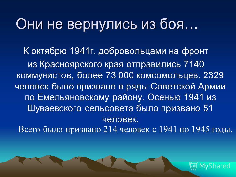 Они не вернулись из боя… К октябрю 1941г. добровольцами на фронт из Красноярского края отправились 7140 коммунистов, более 73 000 комсомольцев. 2329 человек было призвано в ряды Советской Армии по Емельяновскому району. Осенью 1941 из Шуваевского сел