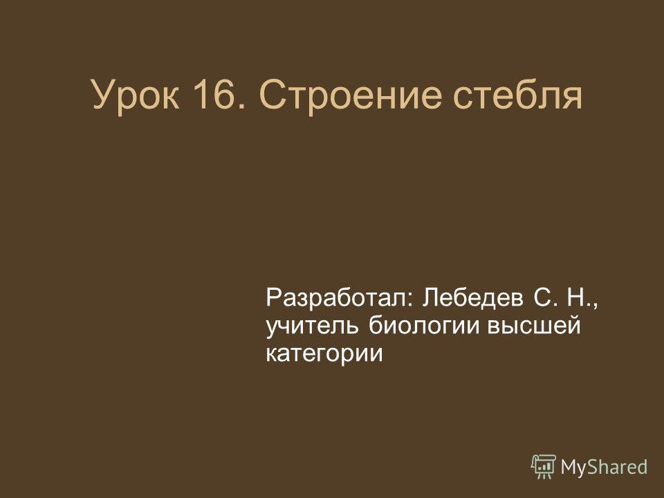 Урок 16. Строение стебля Разработал: Лебедев С. Н., учитель биологии высшей категории