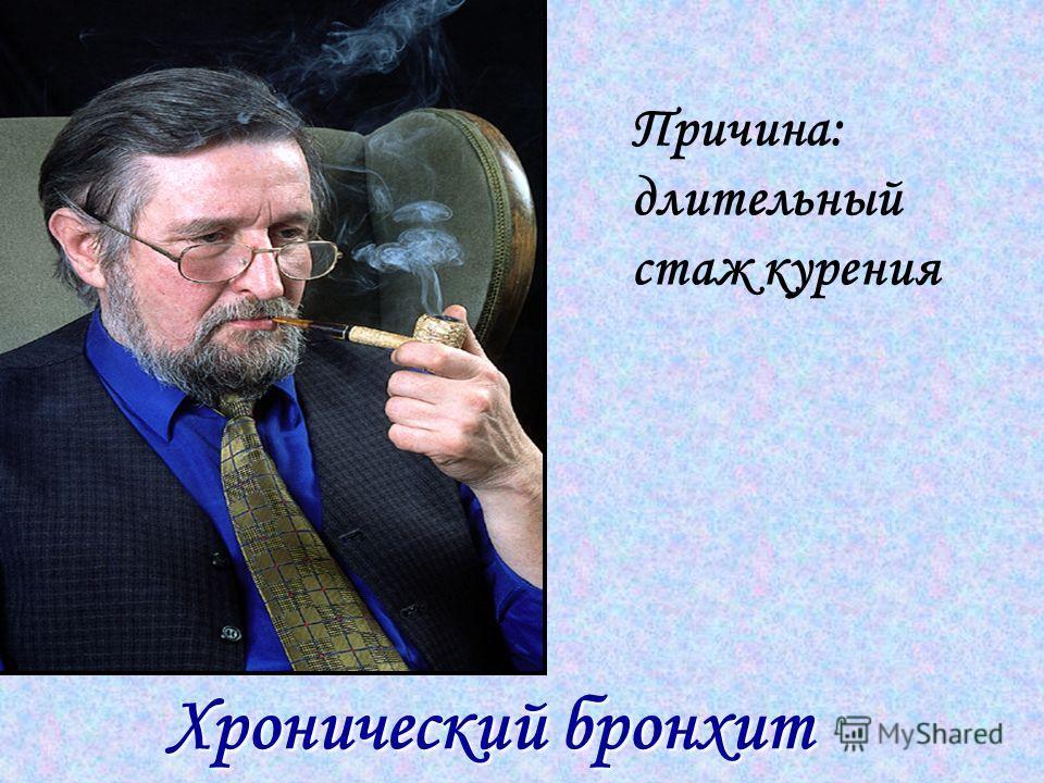 Хронический бронхит Хронический бронхит Причина: длительный стаж курения